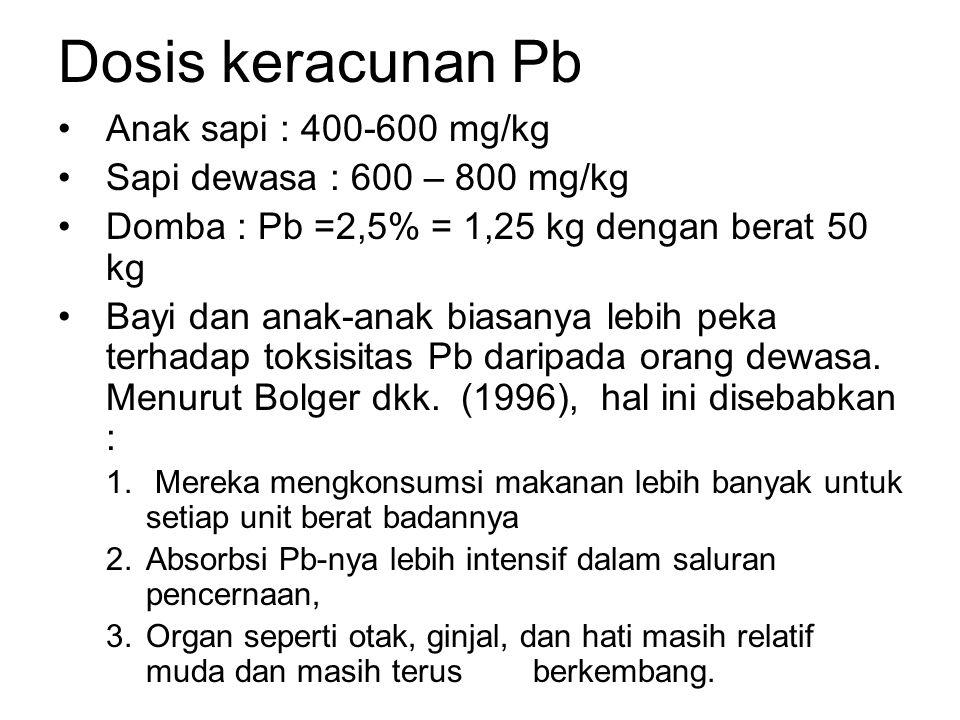 Dosis keracunan Pb Anak sapi : 400-600 mg/kg