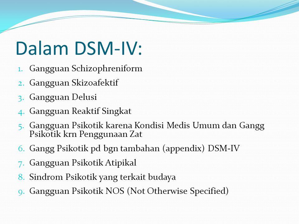 Dalam DSM-IV: Gangguan Schizophreniform Gangguan Skizoafektif
