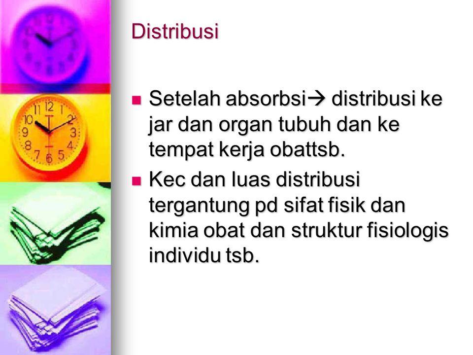 Distribusi Setelah absorbsi distribusi ke jar dan organ tubuh dan ke tempat kerja obattsb.