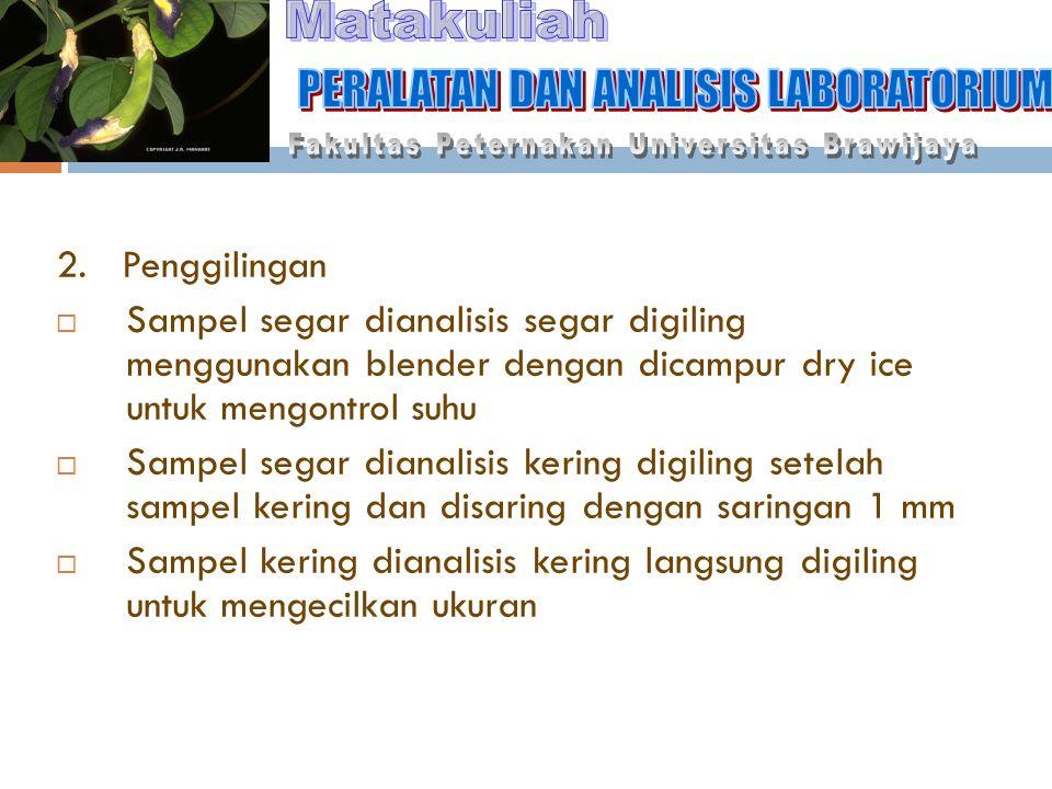 Matakuliah PERALATAN DAN ANALISIS LABORATORIUM 2. Penggilingan