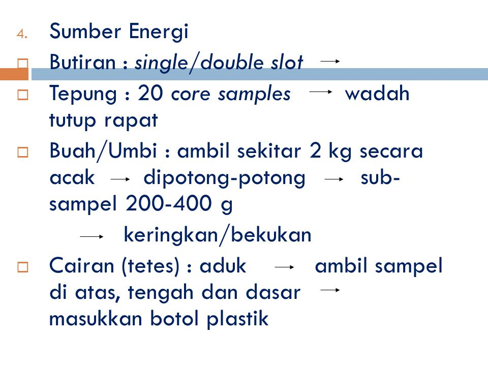 Sumber Energi Butiran : single/double slot. Tepung : 20 core samples wadah tutup rapat.