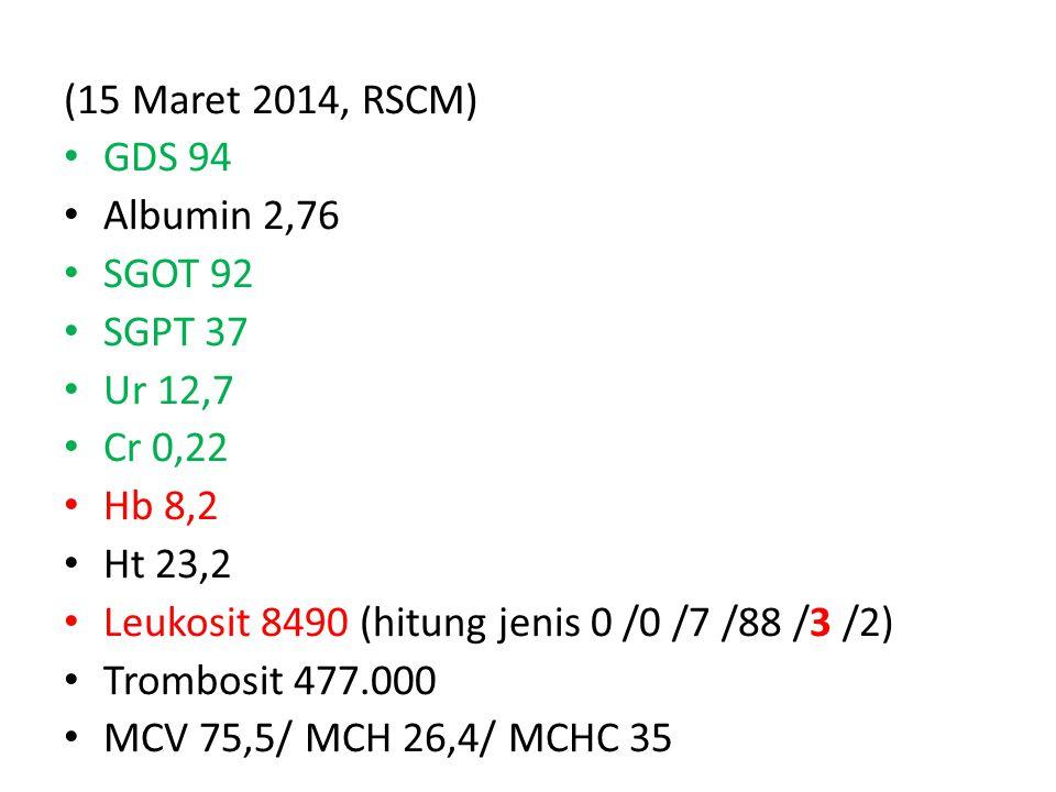 (15 Maret 2014, RSCM) GDS 94. Albumin 2,76. SGOT 92. SGPT 37. Ur 12,7. Cr 0,22. Hb 8,2. Ht 23,2.