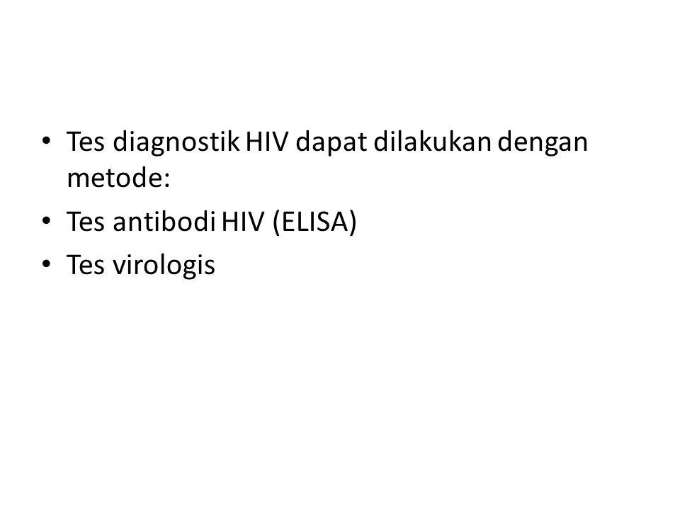 Tes diagnostik HIV dapat dilakukan dengan metode: