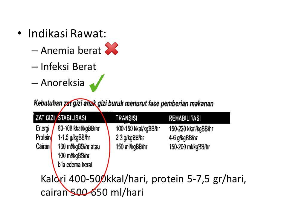 Indikasi Rawat: Anemia berat Infeksi Berat Anoreksia K