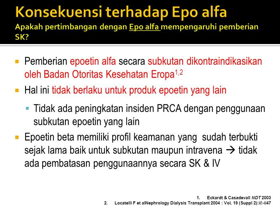 Konsekuensi terhadap Epo alfa Apakah pertimbangan dengan Epo alfa mempengaruhi pemberian SK