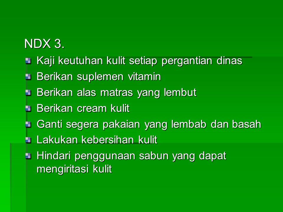 NDX 3. Kaji keutuhan kulit setiap pergantian dinas