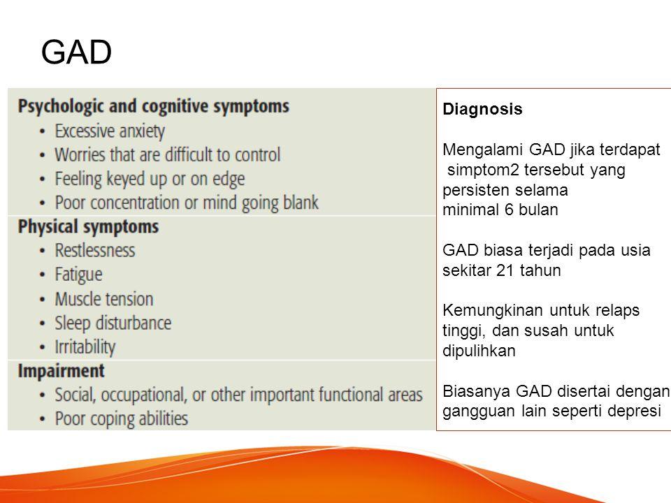 GAD Diagnosis Mengalami GAD jika terdapat simptom2 tersebut yang