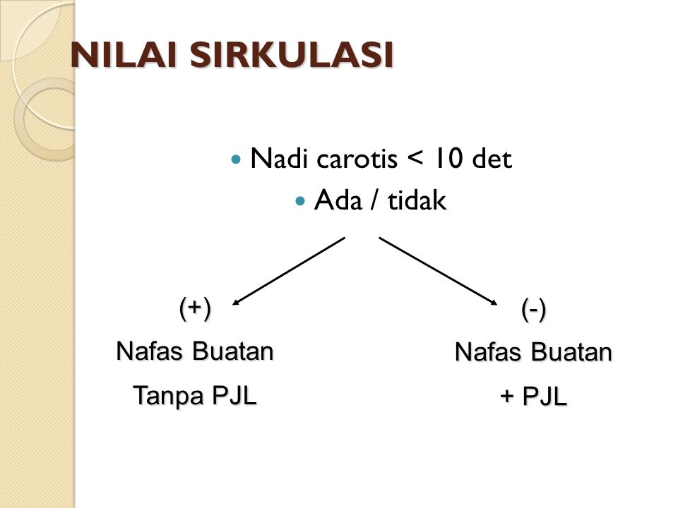 NILAI SIRKULASI Nadi carotis < 10 det Ada / tidak (+) (-)