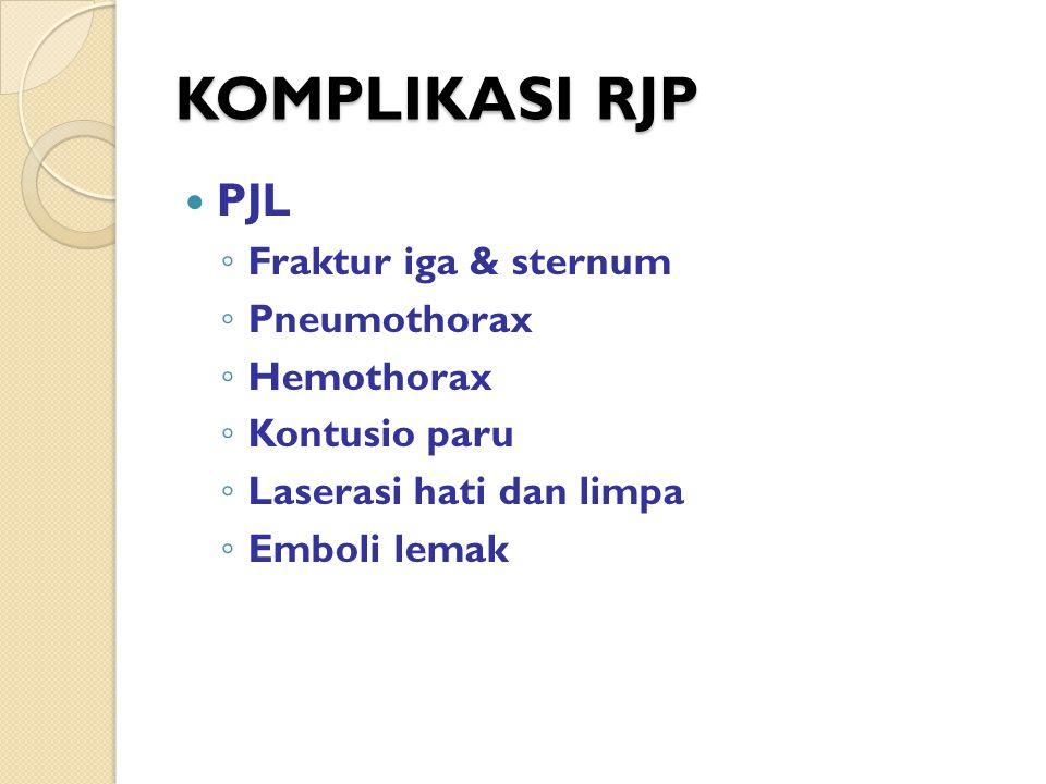 KOMPLIKASI RJP PJL Fraktur iga & sternum Pneumothorax Hemothorax