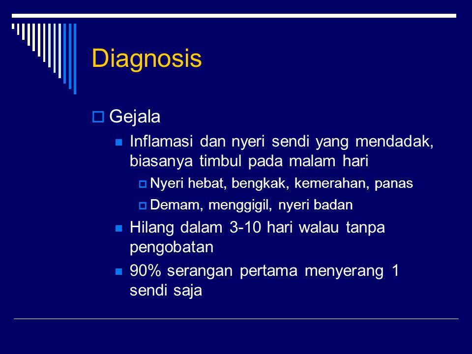 Diagnosis Gejala. Inflamasi dan nyeri sendi yang mendadak, biasanya timbul pada malam hari. Nyeri hebat, bengkak, kemerahan, panas.