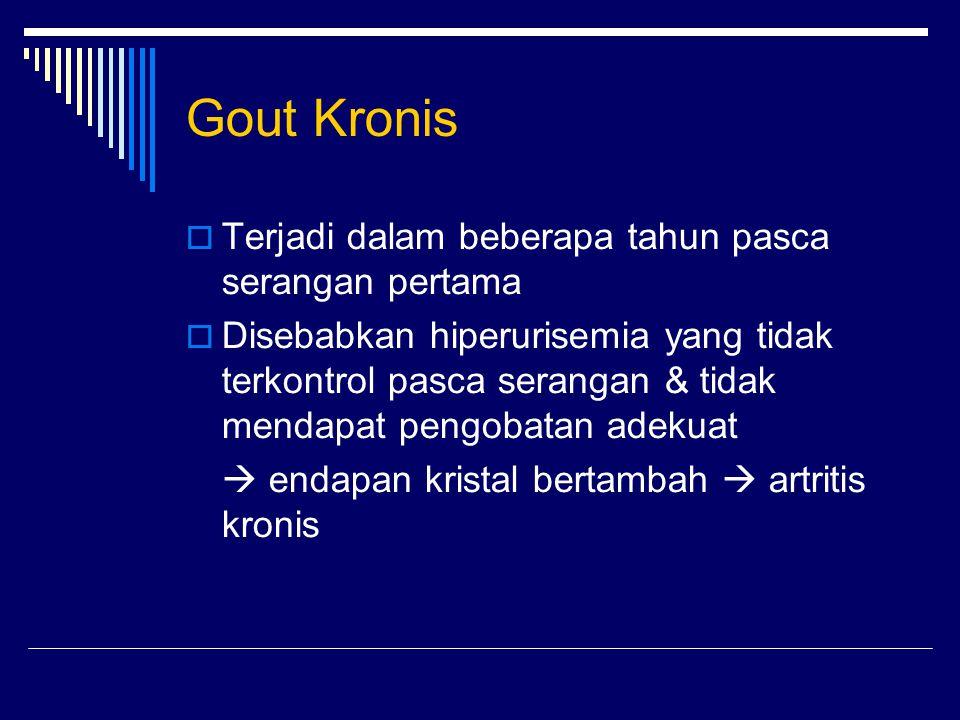 Gout Kronis Terjadi dalam beberapa tahun pasca serangan pertama
