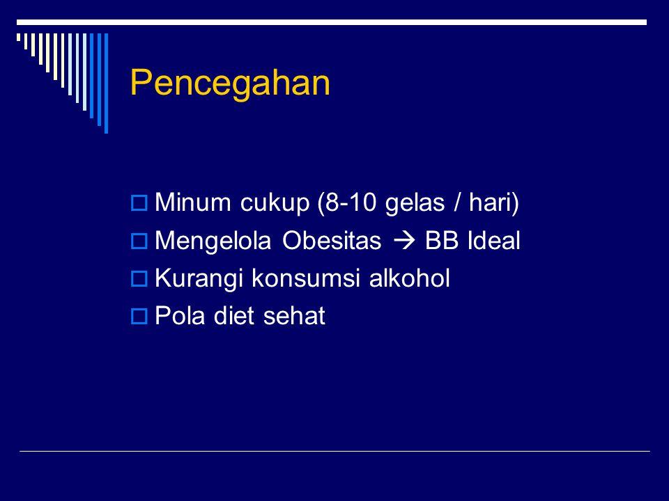 Pencegahan Minum cukup (8-10 gelas / hari)