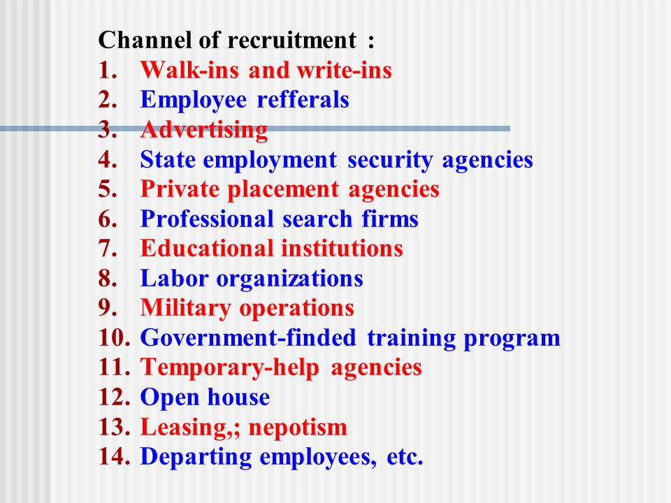Channel of recruitment :