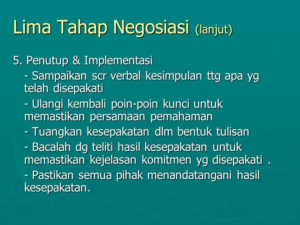Lima Tahap Negosiasi (lanjut)