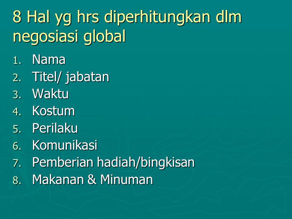 8 Hal yg hrs diperhitungkan dlm negosiasi global