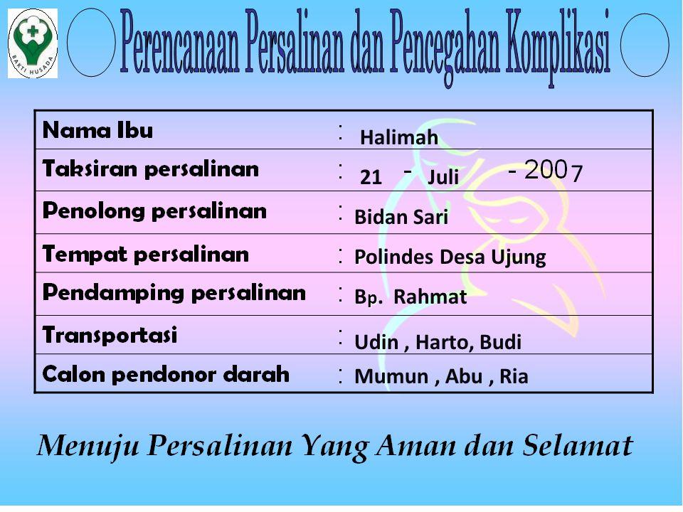 7 Halimah 21 Juli Bidan Sari Polindes Desa Ujung Bp. Rahmat