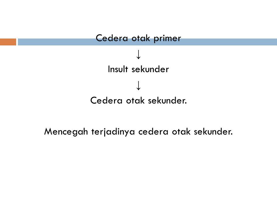 Cedera otak primer ↓ Insult sekunder Cedera otak sekunder