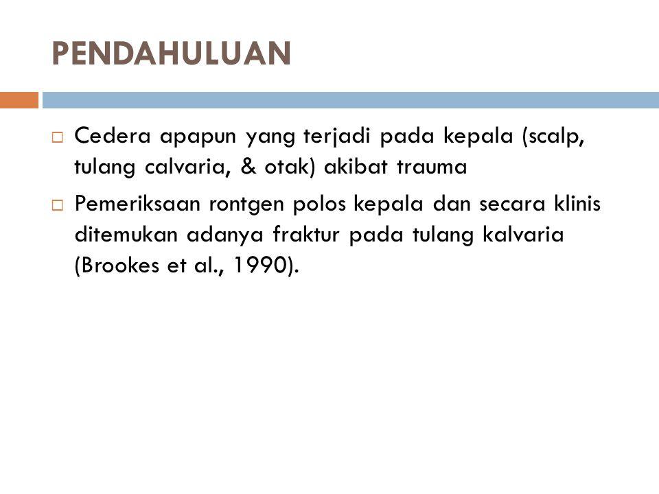 PENDAHULUAN Cedera apapun yang terjadi pada kepala (scalp, tulang calvaria, & otak) akibat trauma.