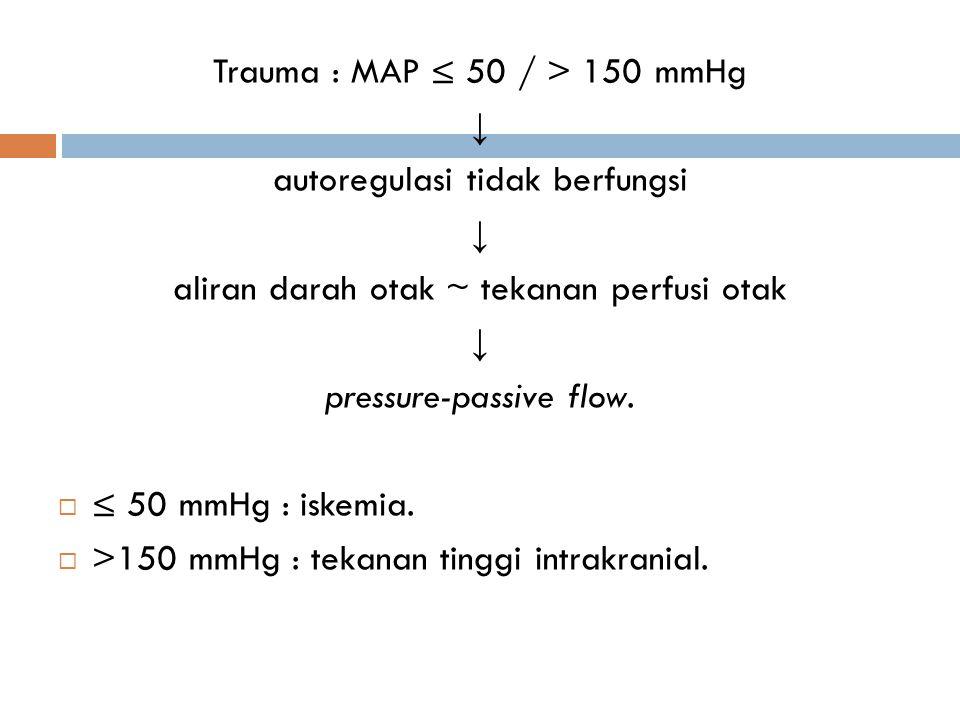 Trauma : MAP ≤ 50 / > 150 mmHg ↓ autoregulasi tidak berfungsi