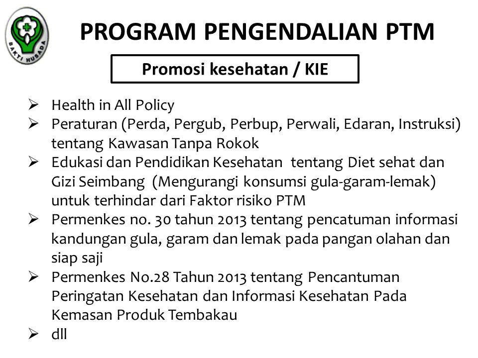 PROGRAM PENGENDALIAN PTM Promosi kesehatan / KIE