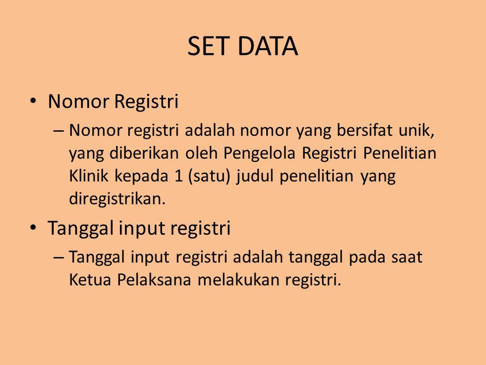 SET DATA Nomor Registri Tanggal input registri