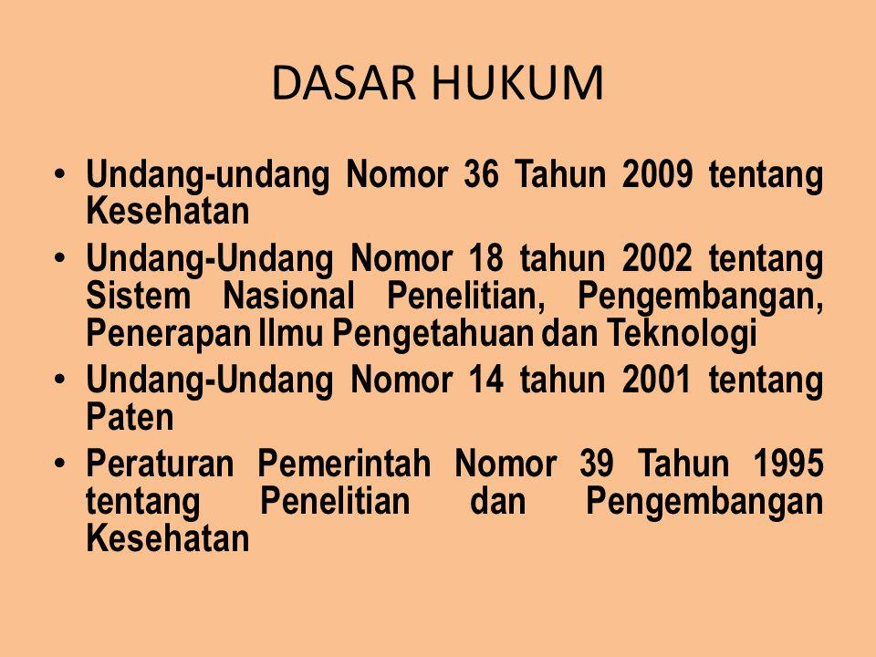 DASAR HUKUM Undang-undang Nomor 36 Tahun 2009 tentang Kesehatan