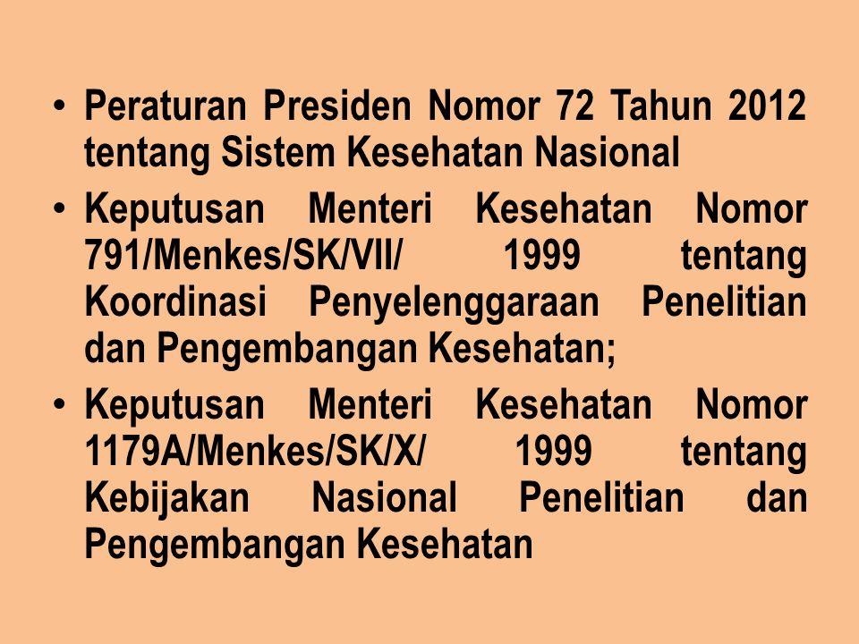 Peraturan Presiden Nomor 72 Tahun 2012 tentang Sistem Kesehatan Nasional