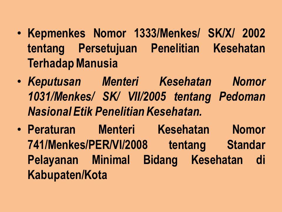 Kepmenkes Nomor 1333/Menkes/ SK/X/ 2002 tentang Persetujuan Penelitian Kesehatan Terhadap Manusia