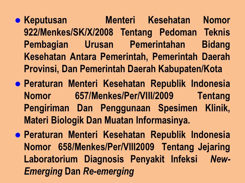 Keputusan Menteri Kesehatan Nomor 922/Menkes/SK/X/2008 Tentang Pedoman Teknis Pembagian Urusan Pemerintahan Bidang Kesehatan Antara Pemerintah, Pemerintah Daerah Provinsi, Dan Pemerintah Daerah Kabupaten/Kota