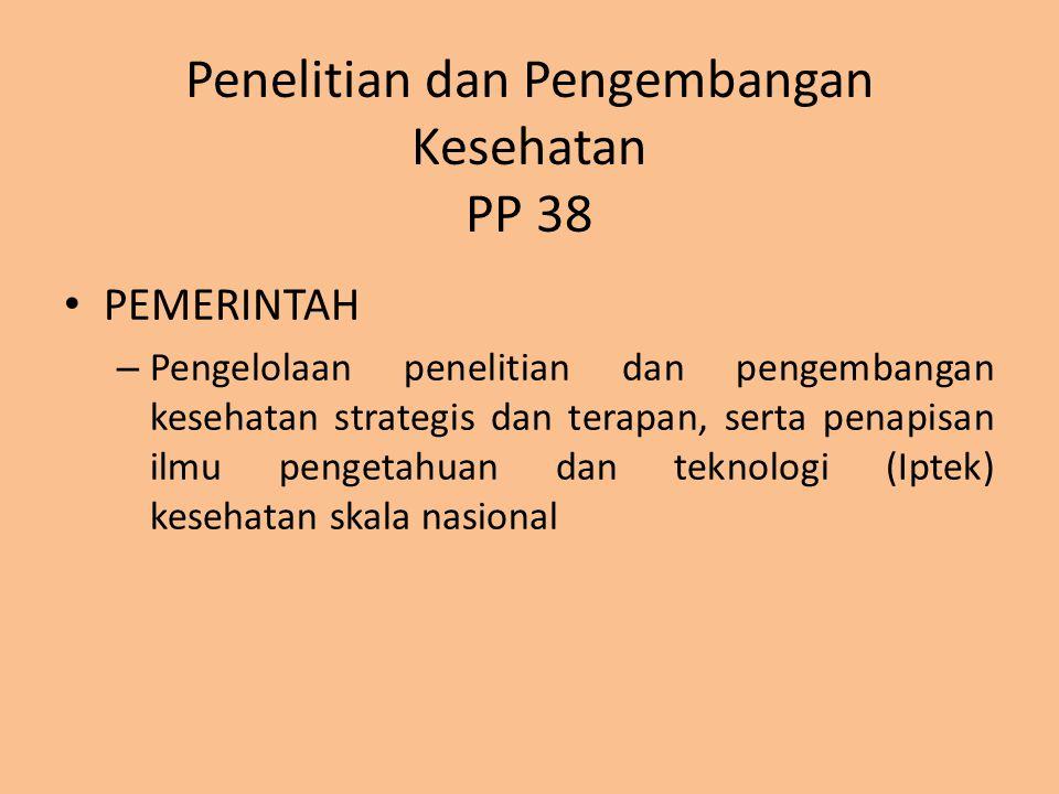Penelitian dan Pengembangan Kesehatan PP 38