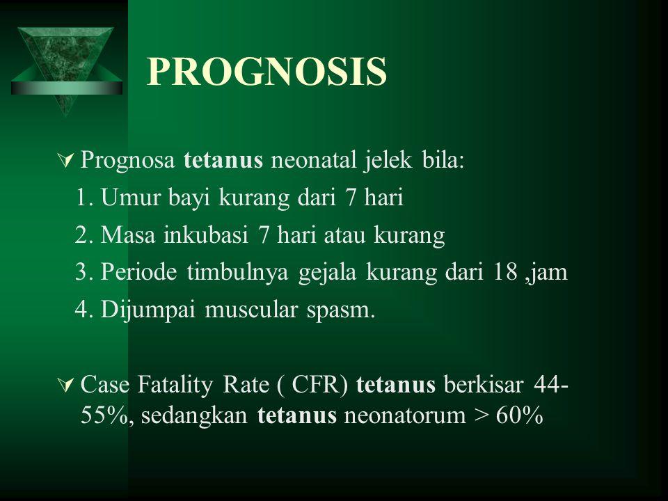 PROGNOSIS Prognosa tetanus neonatal jelek bila: