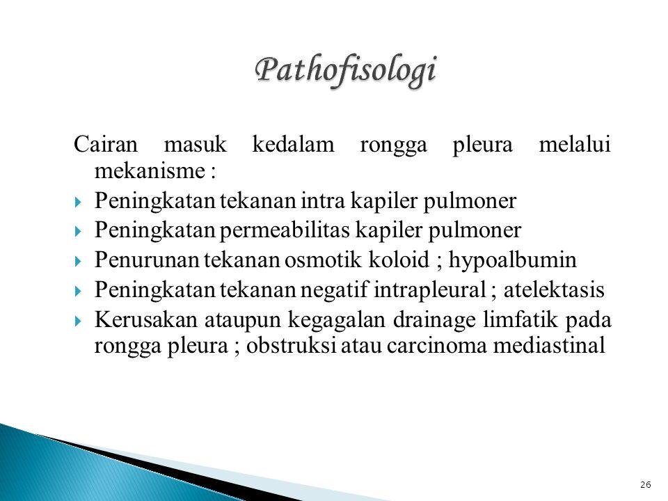 Pathofisologi Cairan masuk kedalam rongga pleura melalui mekanisme :