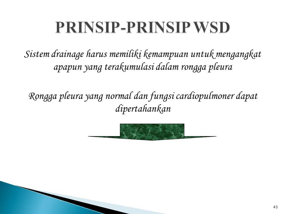 PRINSIP-PRINSIP WSD Sistem drainage harus memiliki kemampuan untuk mengangkat apapun yang terakumulasi dalam rongga pleura.