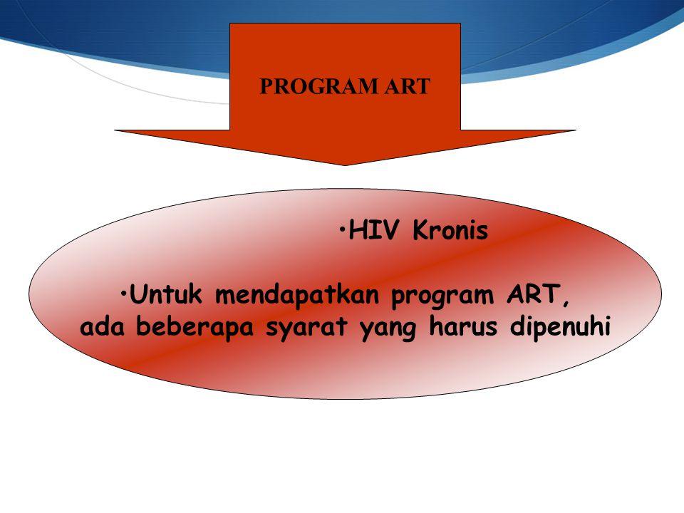 Untuk mendapatkan program ART, ada beberapa syarat yang harus dipenuhi
