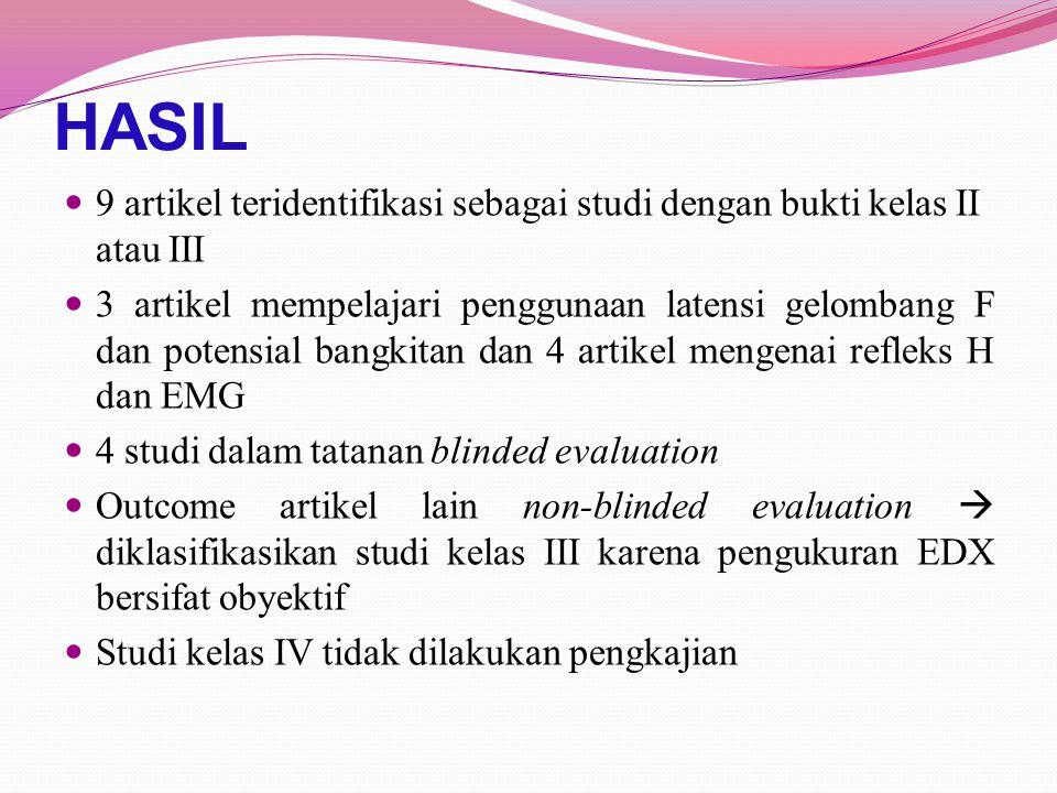 HASIL 9 artikel teridentifikasi sebagai studi dengan bukti kelas II atau III.