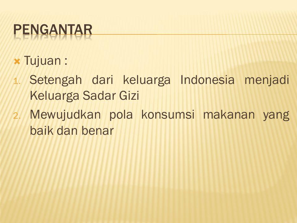 PENGANTAR Tujuan : Setengah dari keluarga Indonesia menjadi Keluarga Sadar Gizi.