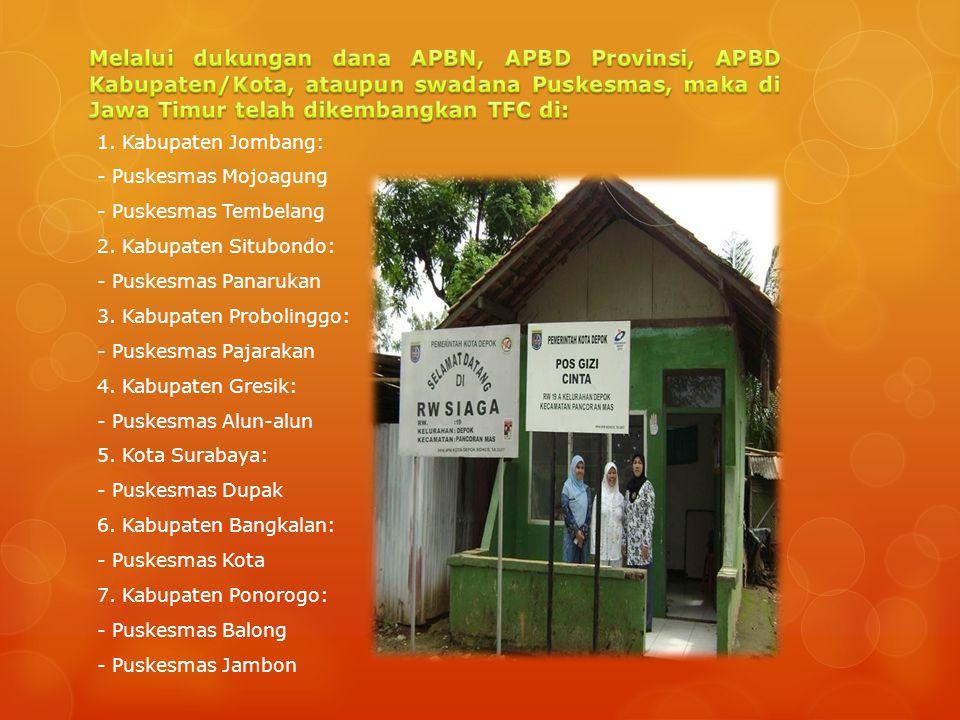 Melalui dukungan dana APBN, APBD Provinsi, APBD Kabupaten/Kota, ataupun swadana Puskesmas, maka di Jawa Timur telah dikembangkan TFC di: