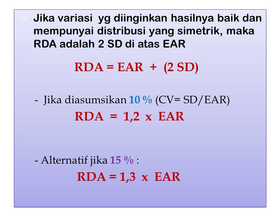 Jika variasi yg diinginkan hasilnya baik dan mempunyai distribusi yang simetrik, maka RDA adalah 2 SD di atas EAR