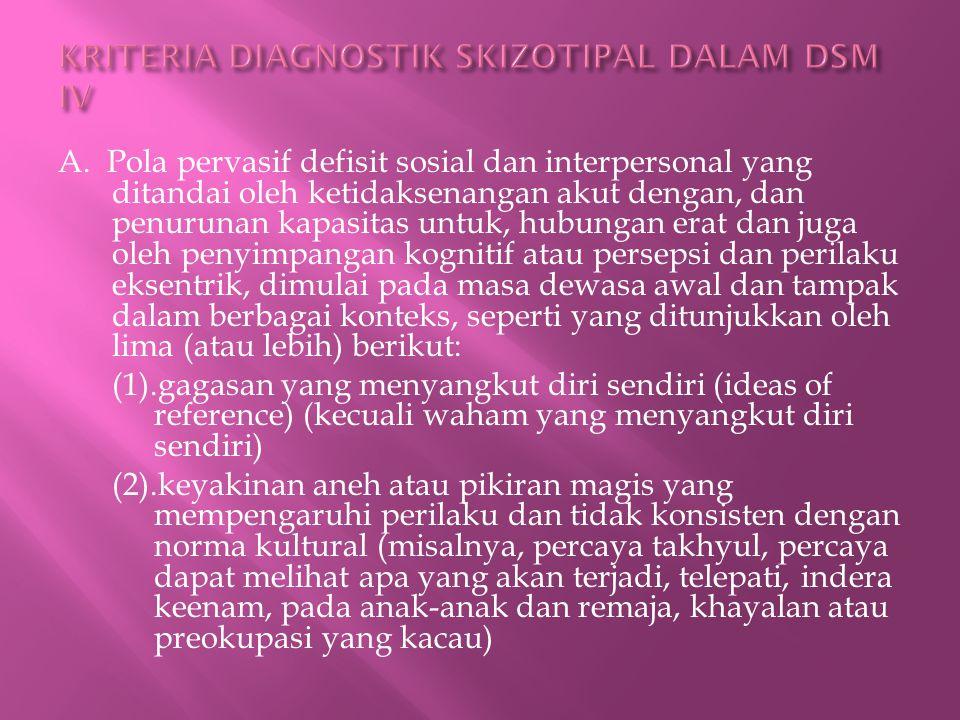KRITERIA DIAGNOSTIK SKIZOTIPAL DALAM DSM IV
