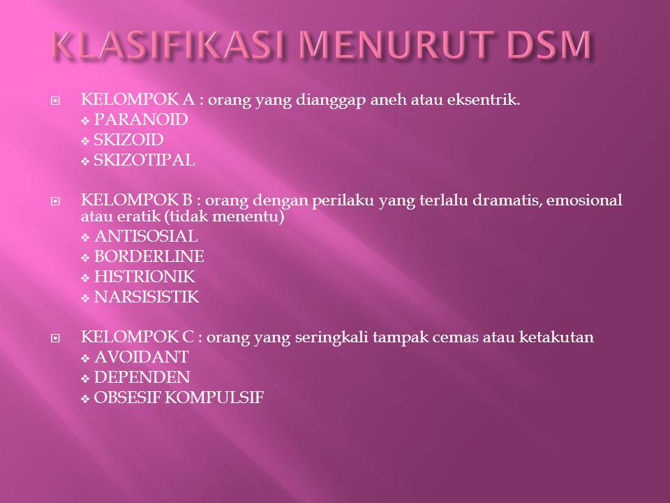 KLASIFIKASI MENURUT DSM