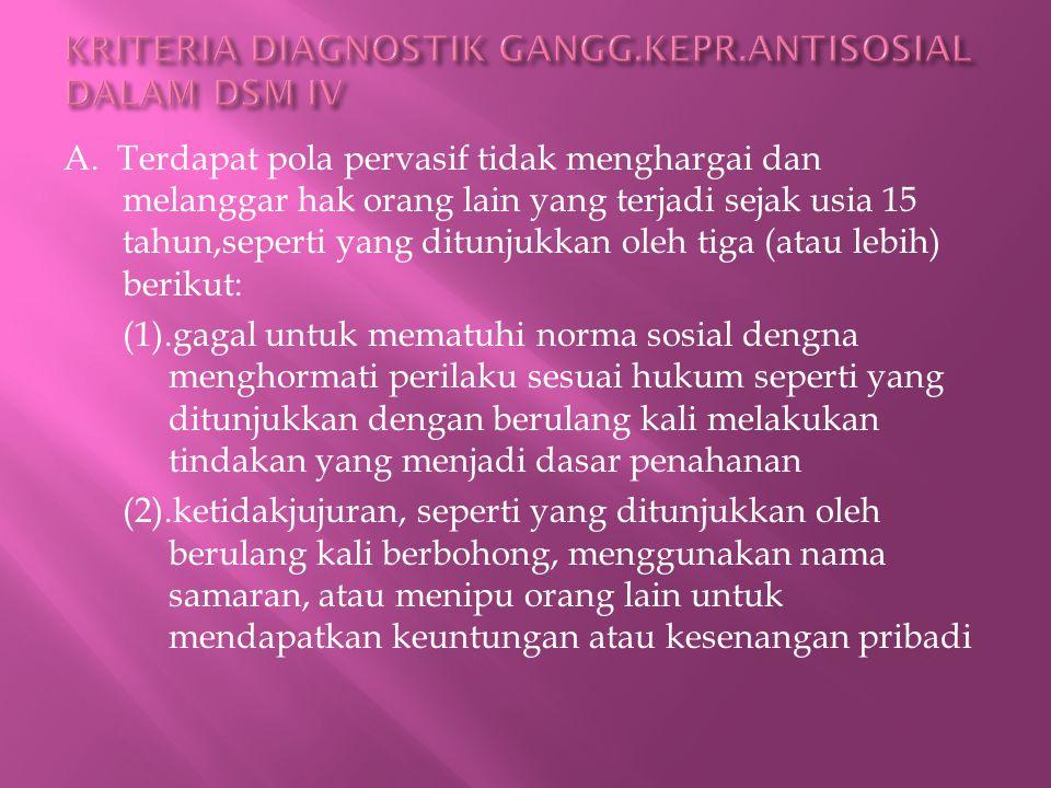 KRITERIA DIAGNOSTIK GANGG.KEPR.ANTISOSIAL DALAM DSM IV