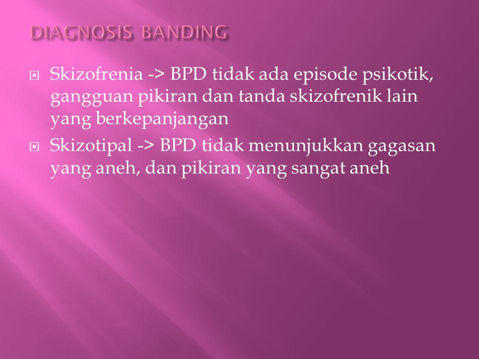 DIAGNOSIS BANDING Skizofrenia -> BPD tidak ada episode psikotik, gangguan pikiran dan tanda skizofrenik lain yang berkepanjangan.