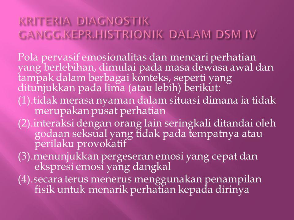 KRITERIA DIAGNOSTIK GANGG.KEPR.HISTRIONIK DALAM DSM IV