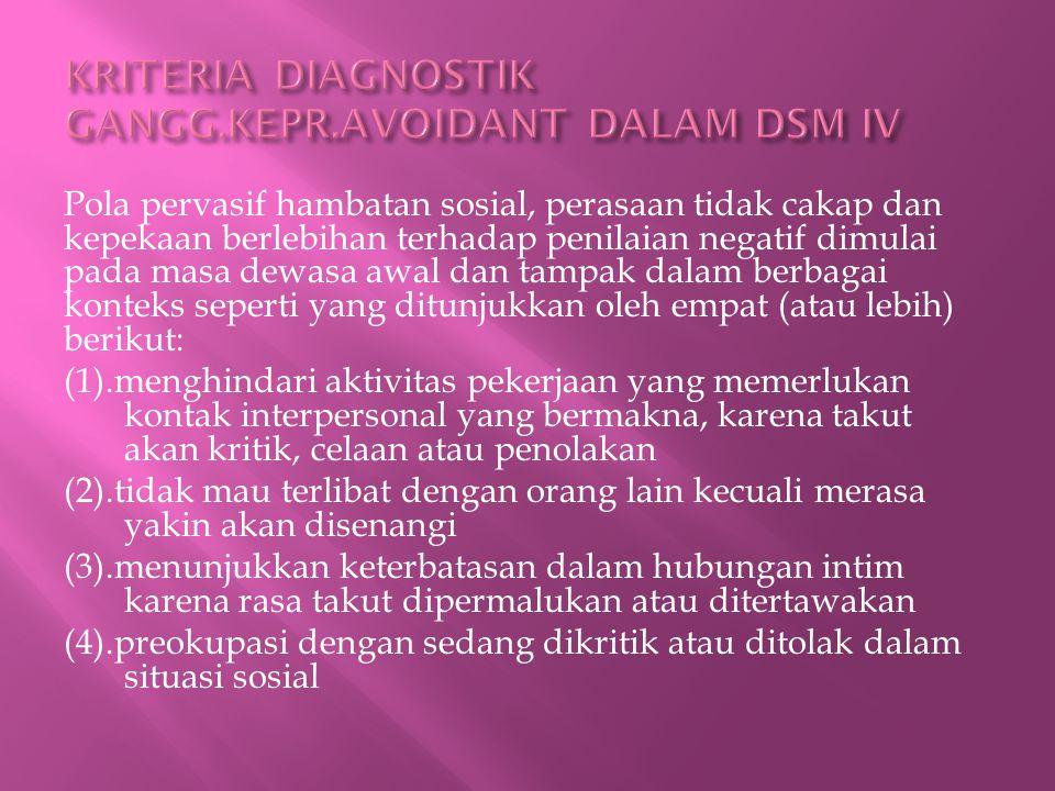 KRITERIA DIAGNOSTIK GANGG.KEPR.AVOIDANT DALAM DSM IV