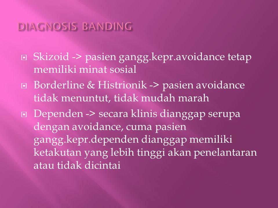DIAGNOSIS BANDING Skizoid -> pasien gangg.kepr.avoidance tetap memiliki minat sosial.