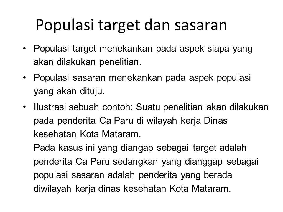 Populasi target dan sasaran