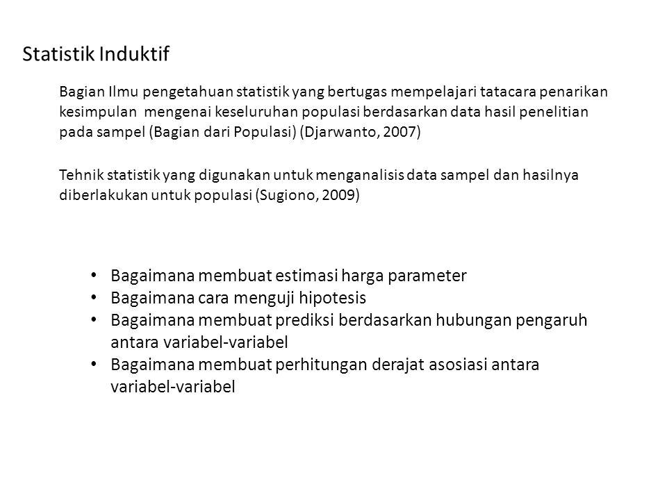 Statistik Induktif Bagaimana membuat estimasi harga parameter