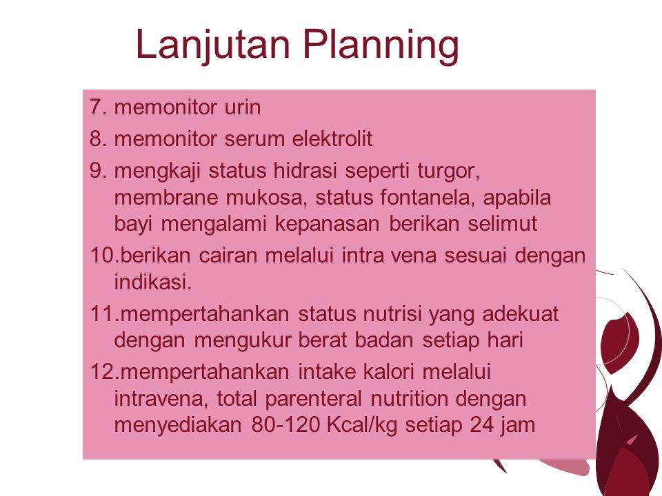 Lanjutan Planning memonitor urin memonitor serum elektrolit