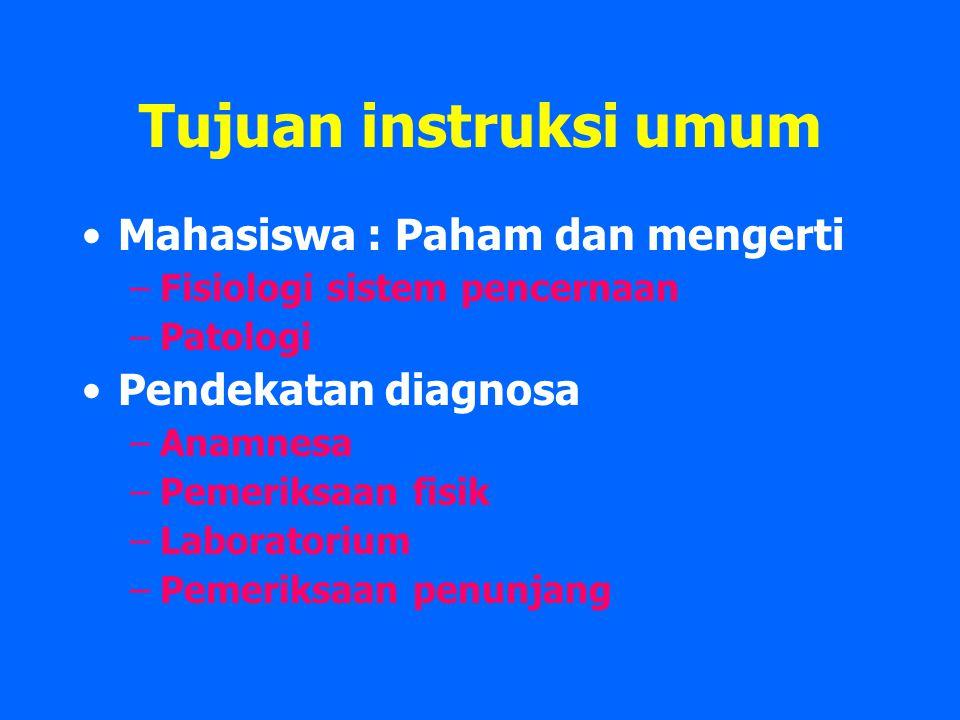 Tujuan instruksi umum Mahasiswa : Paham dan mengerti