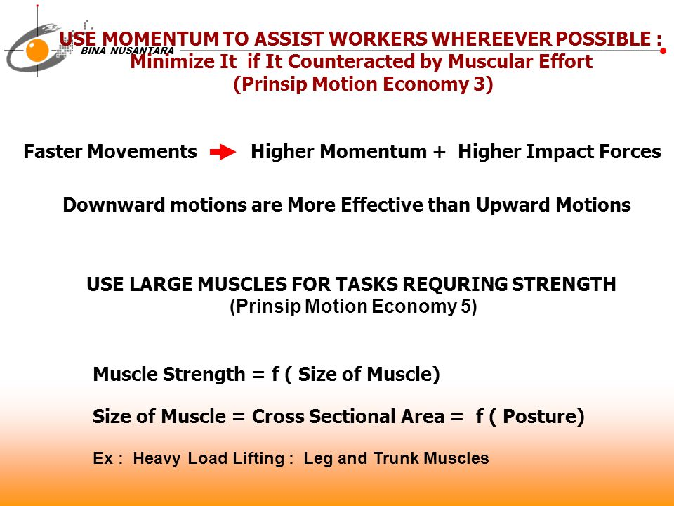 USE MOMENTUM TO ASSIST WORKERS WHEREEVER POSSIBLE :